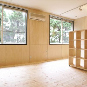 After:築20年アパート「2K和室⇒1R洋室」無垢材・スポットライトで今風に